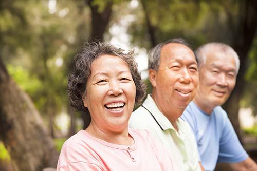 Asian seniors in the park