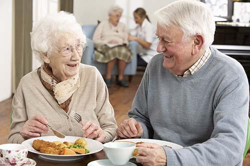 Seniors enjoying a meal together