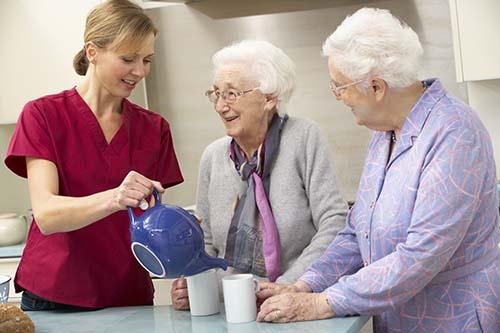 Senior women enjoying tea