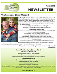 Silver Threads March 2016 Newsletter