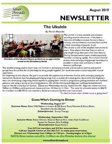 Silver Threads August 2019 Newsletter