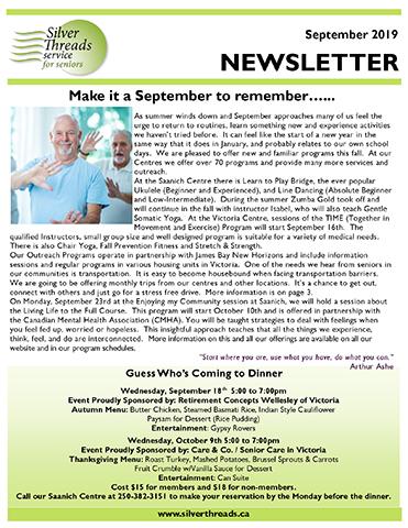 Silver Threads September 2019 Newsletter