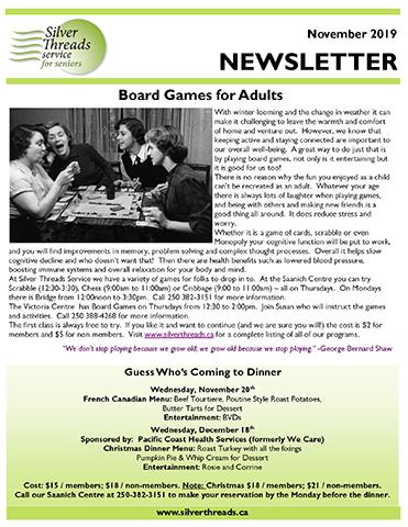 Silver Threads October 2019 Newsletter