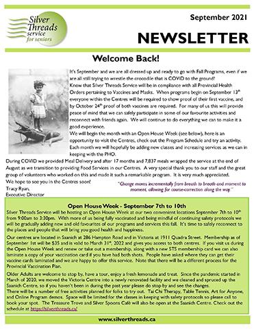 Silver Threads September 2021 Newsletter